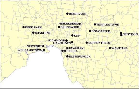 Figure 1b. Distribution of sentinel surveillance sites in metropolitan Victoria
